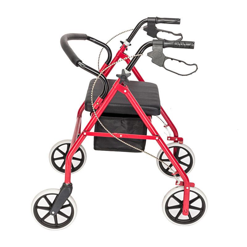 Red Lightweight Aluminum Folding Rollator Rolling Walker Seniors 4 Wheels w/Seat
