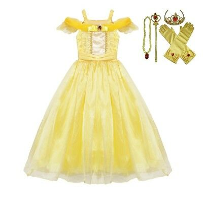 Belle The Princess (US STOCK Belle Dress Costume Gown  Princess Girl Beauty and The Beast)