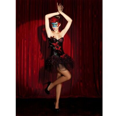 PinUp-Korsage SCHWARZ/ROT mit FEDERN Rock Burlesque Corsage - Schwarz Burlesque Kostüm