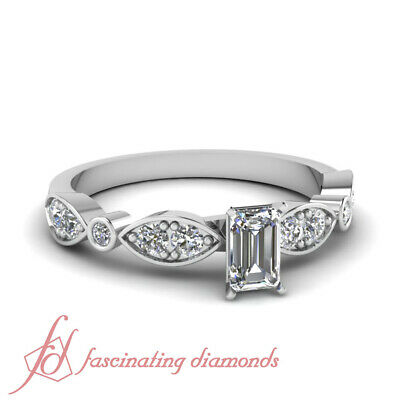 .80 Ct Emerald Cut Diamond Pave Set Engagement Ring VVS2-D Color GIA Certified