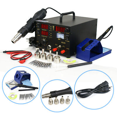 3 In 1 853d Smd Rework Soldering Station Hot Air Gun Solder Iron Dc Power Supply