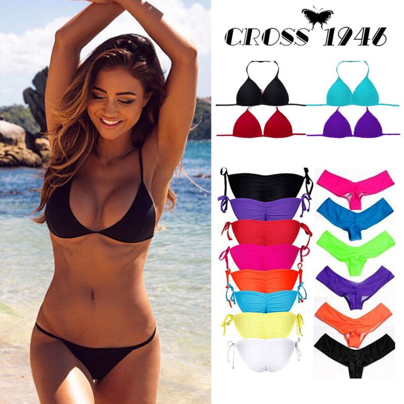 9157ed96d Details about Womens Triangle Bikini Set Push Up Padded Top Side-Tie Bottom Swimsuit  Swimwear