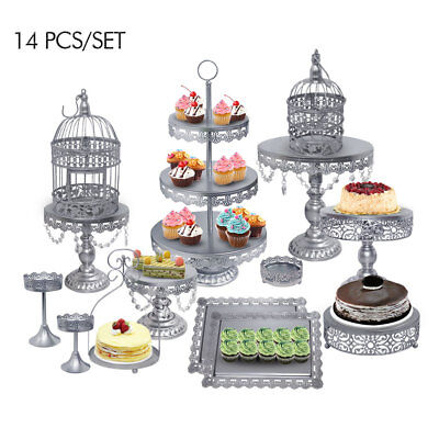 14pc Lace Crystal Wedding Cake Stand Set Silver Metal Cupcake Tower Holder -