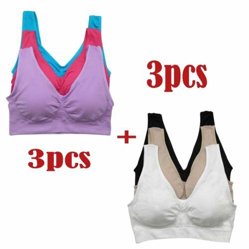 3X Damen Sport BH Bustier Bra Push-Up Fitness Yoga Unterwäsche ohne Bügel Tops