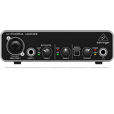 Behringer U Phoria Umc22 2X2 Usb Home Studio Audio Recording Interface  Software