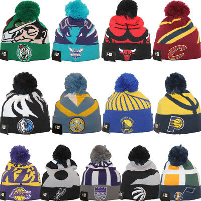 New Era NBA LOGO WHIZ 3 Sport Knit Pom Pull On Beanie Hat Cap Team Colors ()