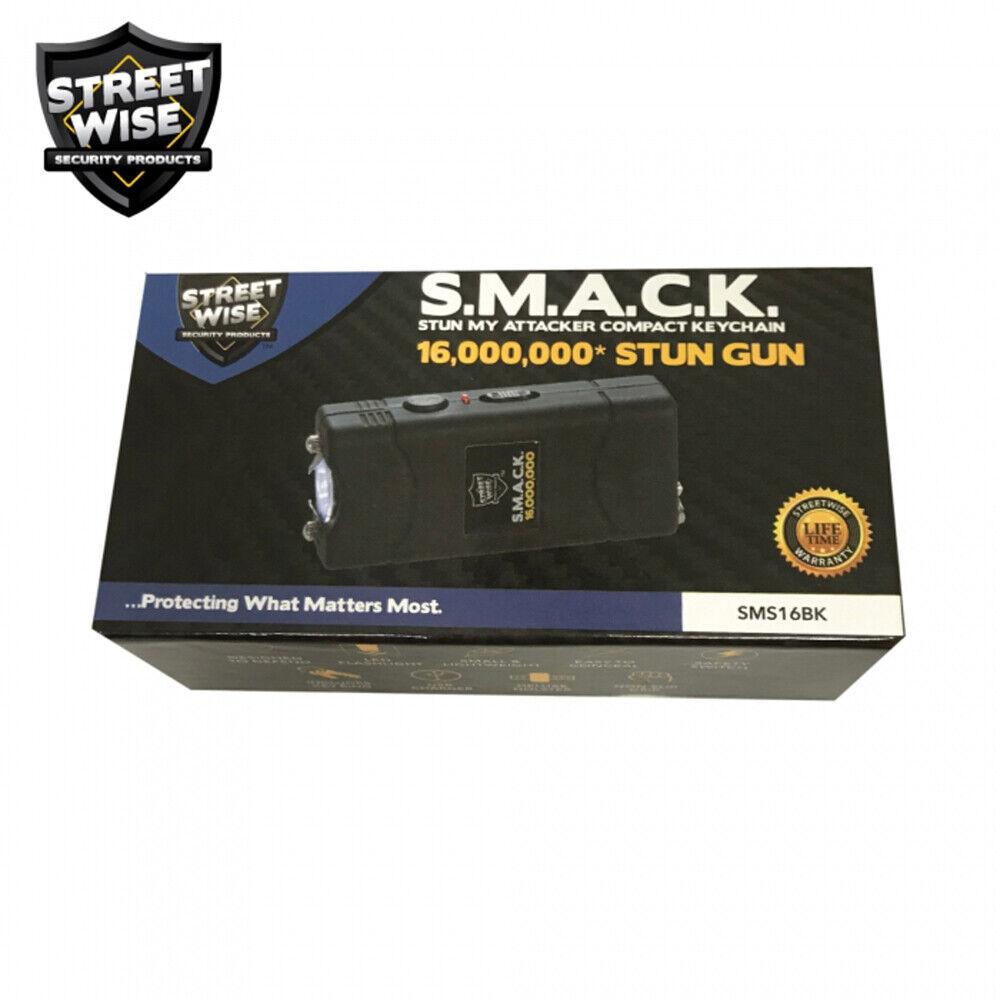 Mini STUN GUN Flashlight Streetwise SMACK 16,000,000 Volts W/ Holster BLACK - $15.88