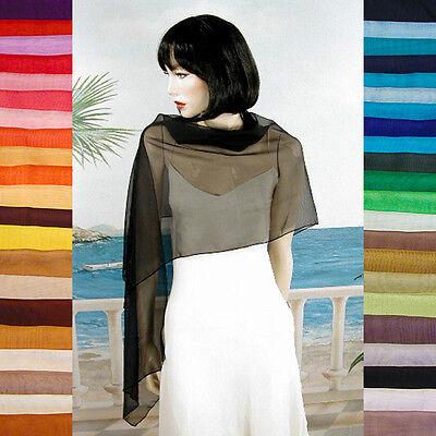 Long Sheer Chiffon Plain Shawl Wrap Scarf Hijab Solid Colors Evening - - Solid Colors