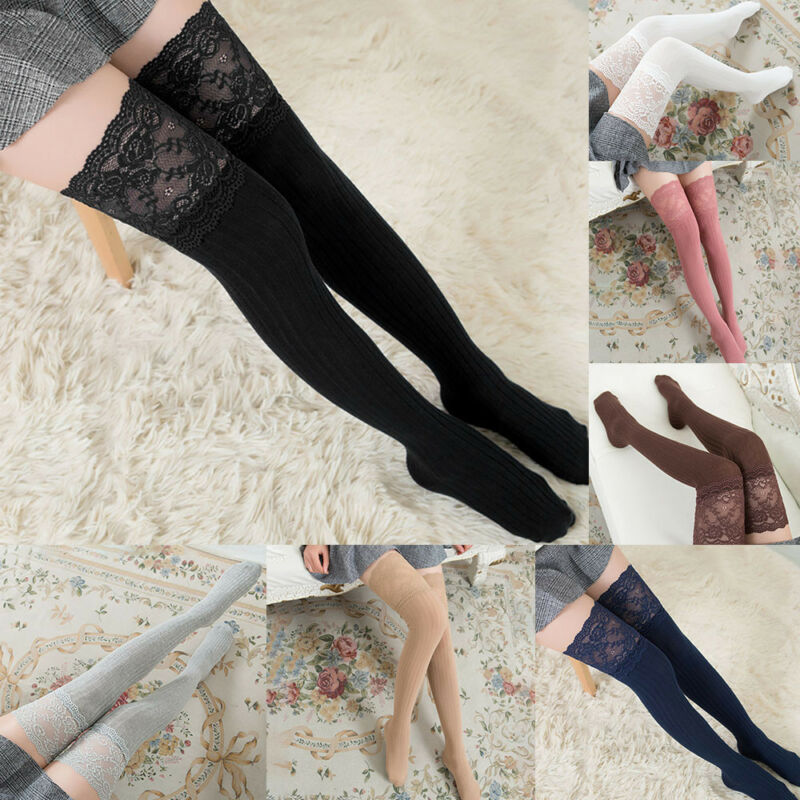 Women Lace Trim Thigh High Over The Knee Socks Long Cotton Warm Lace Stockings