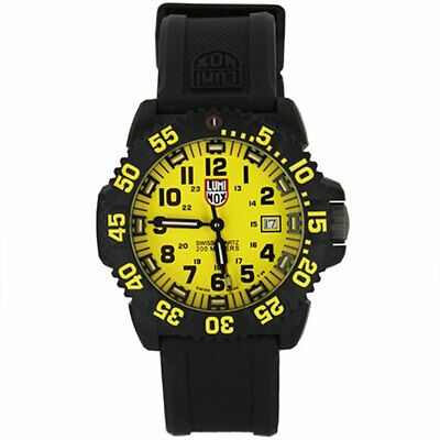 Luminox 3055.LM Men's Navy Seal Colormark Yellow Dial Black Rubber Strap Watch