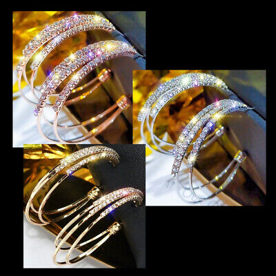 Rhinestone Hoop Earrings Triple Layer Pierced 2 inch Wide Rose Gold Silver Bling 2 Gold Hoop Earrings