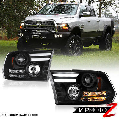 2009-2018 Dodge Ram 1500 2500 3500 [TRIBAL VERSION] Black LED DRL Headlights Set