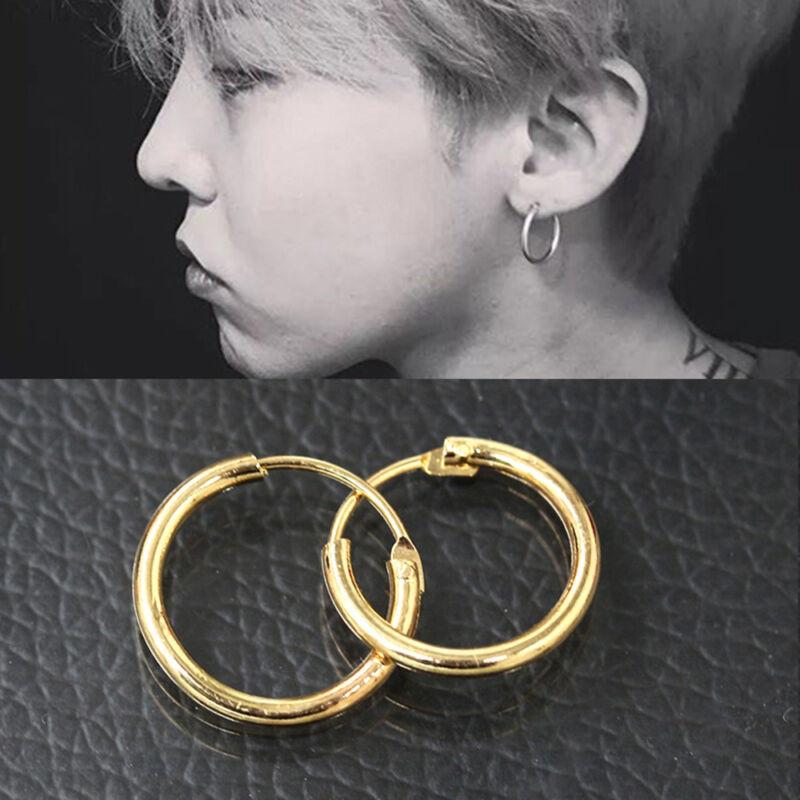 b849271de6883 Details about Men Women Jewelry Stainless Steel Tube Ear Studs Hoop Huggie  Punk Earrings New