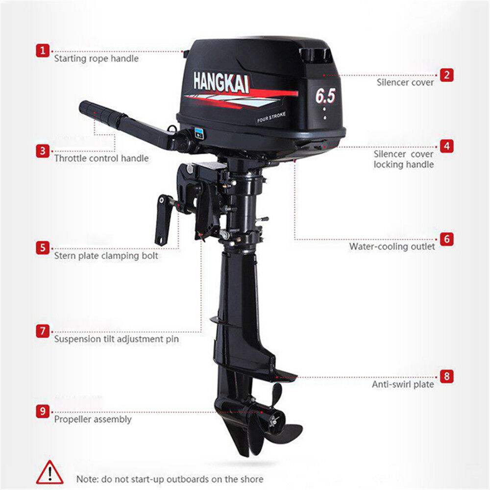 4 Stroke 6.5HP Petrol Outboard Engine Motor for Fishing ...