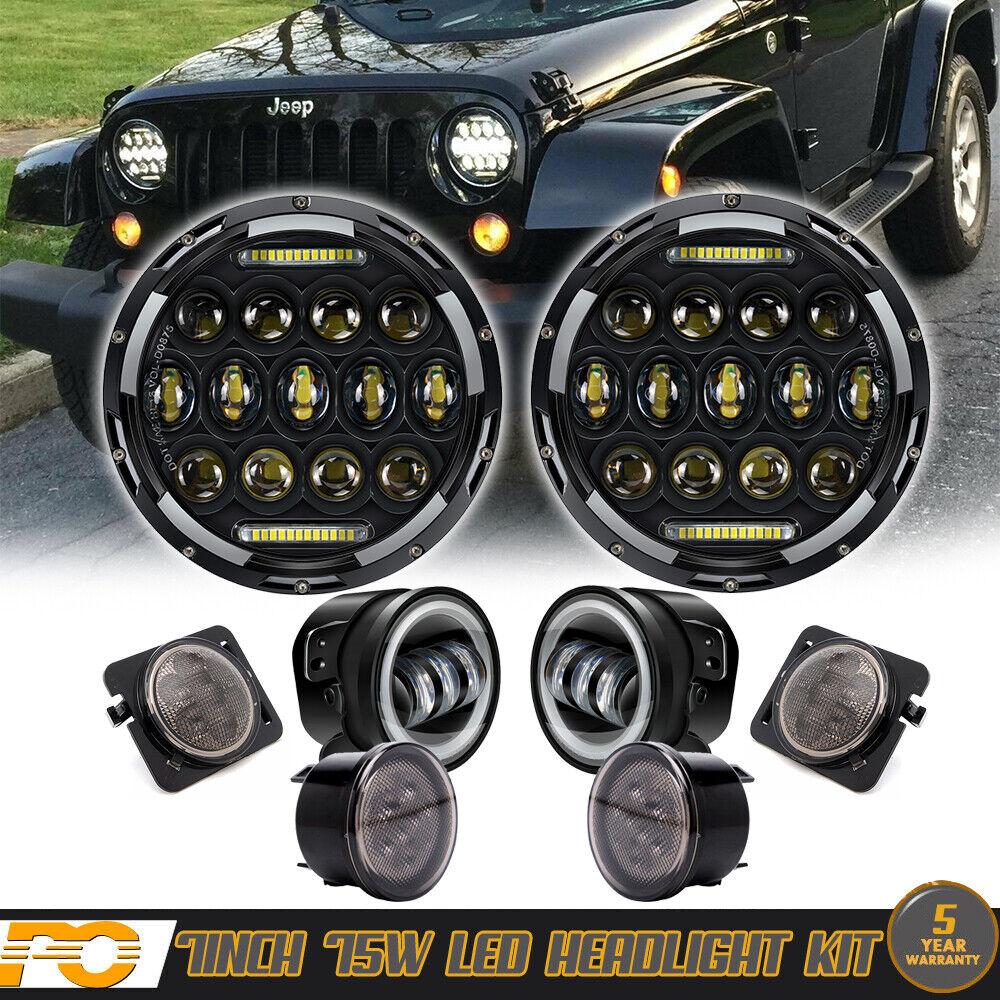 """7/"""" LED Seald Headlights 4/"""" Fog Light DRL Combo Kit For Jeep Wrangler JK 07-2016"""