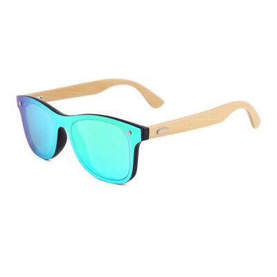 Holz Brille Bambus Sonnenbrille UV400 Damen Herren Hand Made Blau Verspiegelt
