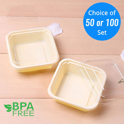 50/100 Yellow Base Square To-Go Ice Cream Cake Container Box w/ Clear Lid OA - Plastic Cake Containers