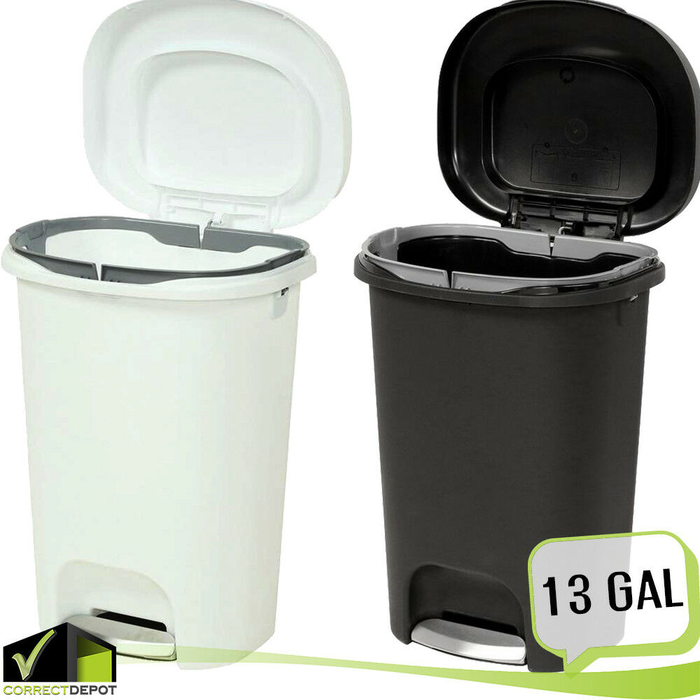 Step On Plastic Trash Can 13 Gal Rubbermaid Kitchen Waste Basket