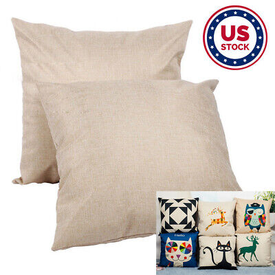 Usa - 10pcs Linen Sublimation Blank Pillow Case Cushion Cover For Heat Press Diy