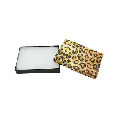 100pc 5-38 X 3-78 Gift Boxes Jewelry Leopard Print Cotton Filled Batting