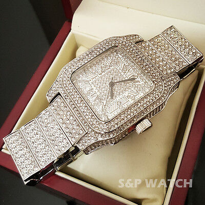 Men Rick Ross White Gold Full Iced Bling Hip Hop Lab Simulated Diamond Watch