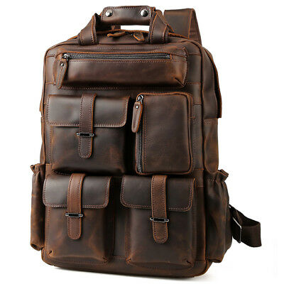 Vintage Men Leather Backpack 17