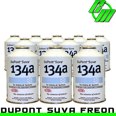 DuPont Suva R134a Automotive A/C Air Conditioning Refrigerant (12) 12oz Cans