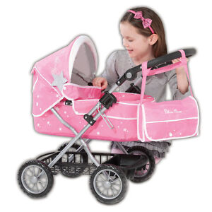 New-Pink-Silver-Cross-Ranger-Girls-Dolls-Pram-With-Shopping-Bag-Lay-By-Welcome