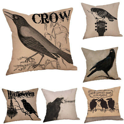 Happy Halloween Pillow Cases Crow Linen Car Sofa Cushion Cover Room Decor Gift