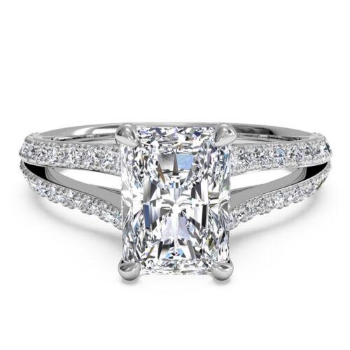 GIA Radiant Cut Diamond Engagement Ring 2.00 Carat 18k Gold Split Shank