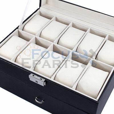 Glass Top Watch Storage Case (20 Grids Watch Box Glass Top Display Jewelry Organizer Storage Leather)