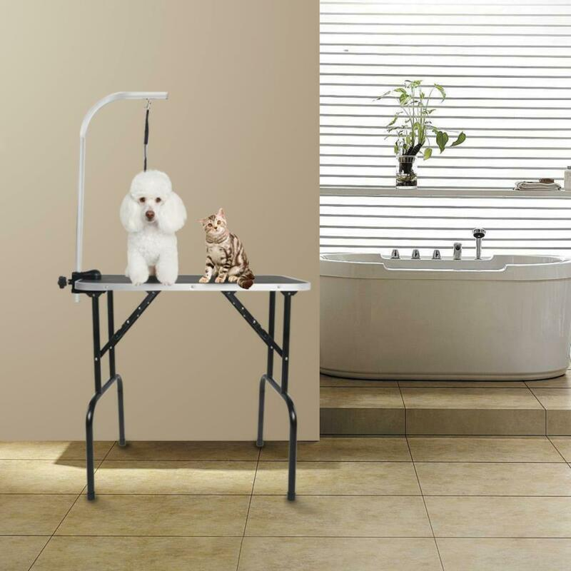 """New 32""""Groome Adjustable Folding Pet Dog Cat Grooming Table W/Arm&Noose Rubber"""