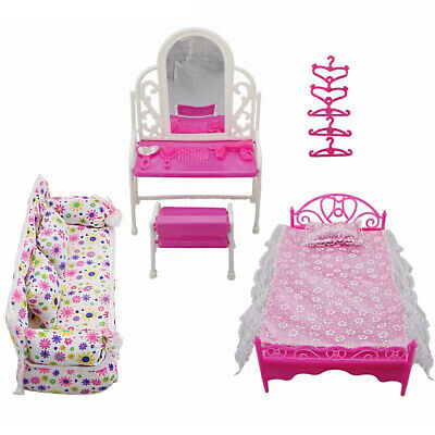 Doll House Furniture Living Room Pink Sofa Bed Dressing Table Hanger Toy Set