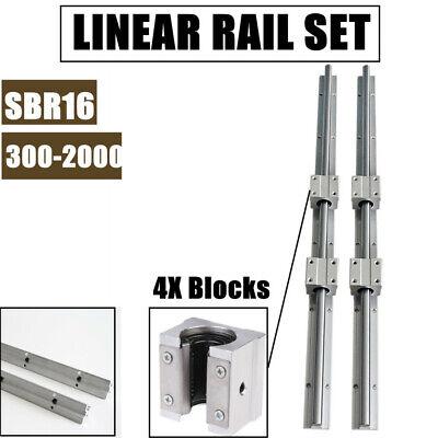Sbr16 Linear Rail 300-2000mm Slide Shaft Rod 4x Sbr16uu Bearing Blocks Cnc Set