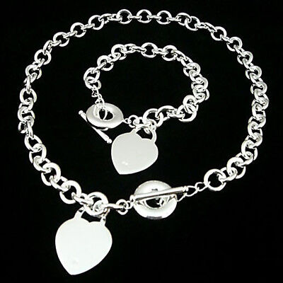 925 SILVER ELECTRO-PLATED 17 NECKLACE CHOKER HEART CHARM TOGGLE CLOSING (Silver Plated Heart Toggle)
