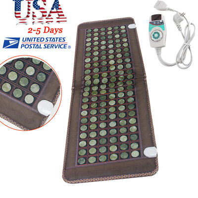 【USA SHIP】Jade Tourmaline Heat Healing Therapy Mat FIR InfraRed Pad Health Care