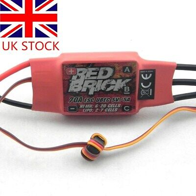 Red Brick Brushless ESC 2-7S 70A & 5V 5A UBEC for Helicopter Plane Quadcopter UK