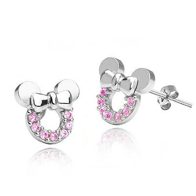 925 Sterling Silver Pink Mouse Children Push Back Baby Girls Earrings