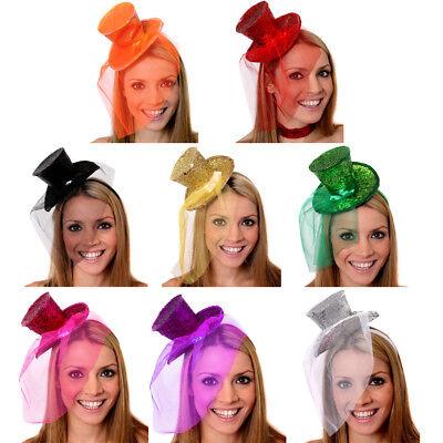 T GLITTER FASCINATOR FANCY DRESS ACCESSORY CHRISTMAS (Glitter Top Hat)