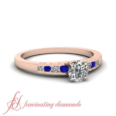 1 Carat Round Cut Untreated Diamond And Sapphire Engagement Ring Channel Set GIA