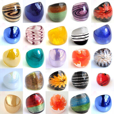 Lots Style Fashion Ring Handmade Classic Colorful Murano Glass Rings Size -