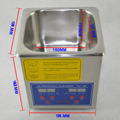 2l Ultrasonic Cleaner Stainless Steel Industry For Glasses Watches 110v Usa Plug