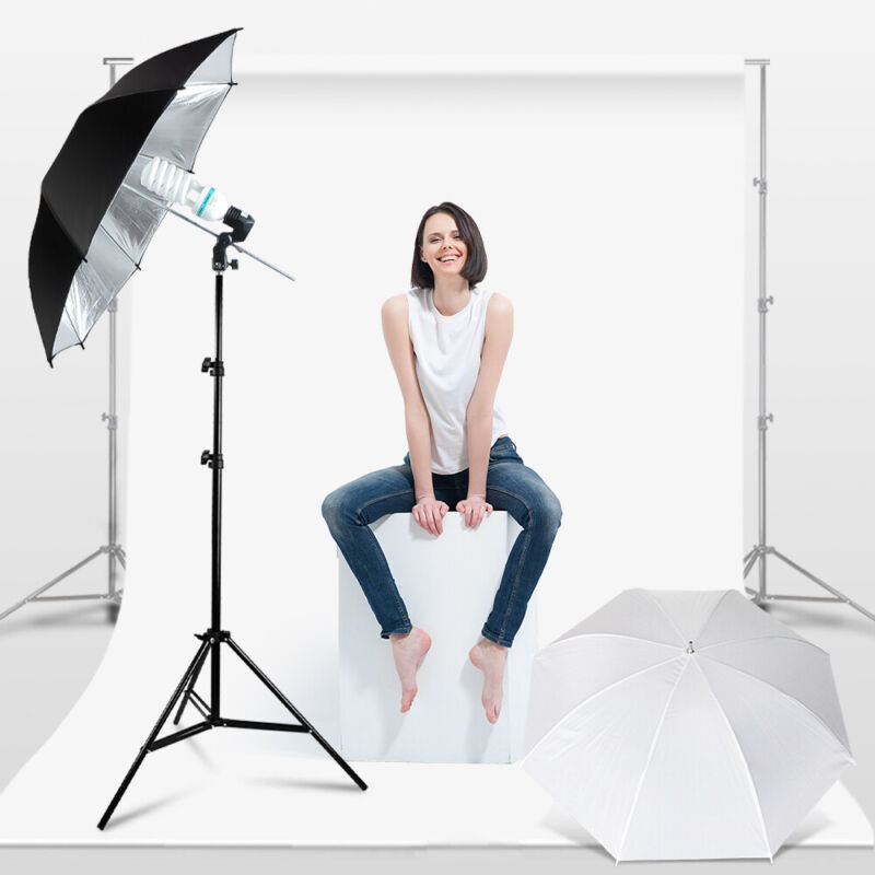 """33"""" Photo Umbrella Reflector Stand Lighting Kit, Black/Silver and White"""