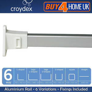 Croydex 6-Way Modular White End Chrome Rail - Shower Curtain Aluminium Rod