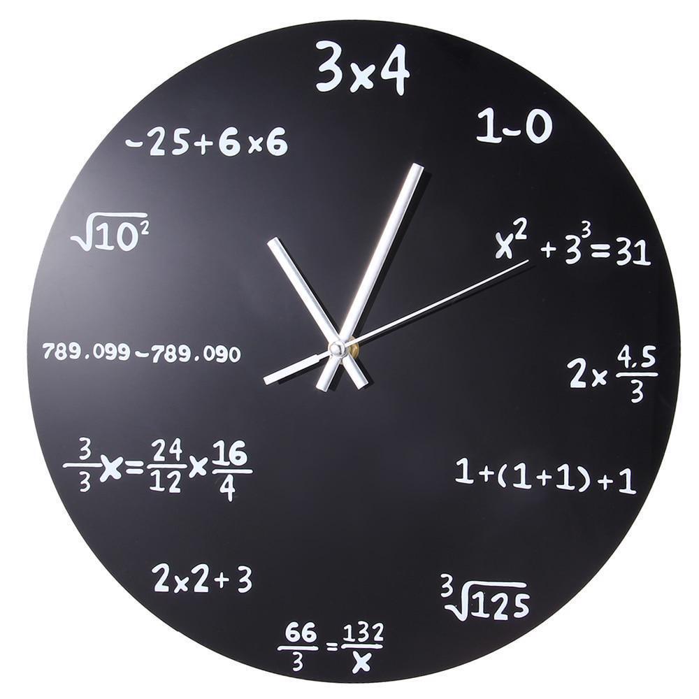 Math Clocks Blackboard Pop Quiz Black Powder Coated Metal Modern Quartz Clock