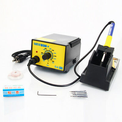 936+ 110V ESD SMD Rework Iron Soldering Station Welder w/ Wire Stand Sponge Tips