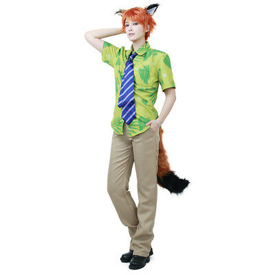 Zootopia Fox Nick Wilde Cosplay Costume Mens Hawaiian Shirt and Tie w/ Ears Tail