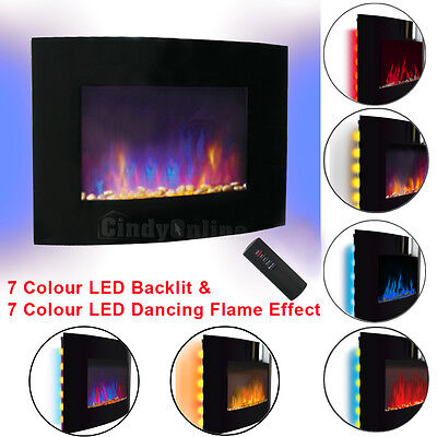 "42"" 2KW LED Curved Glass Electric Fireplace Wall Mounted Fire Place + Remote"