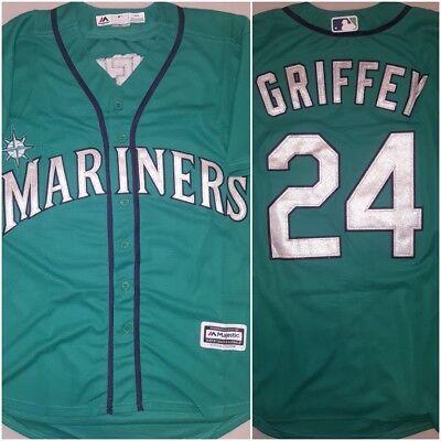 Retro Ken Griffey Jr Seattle Mariners Green Replica Baseball Jersey Mens Medium