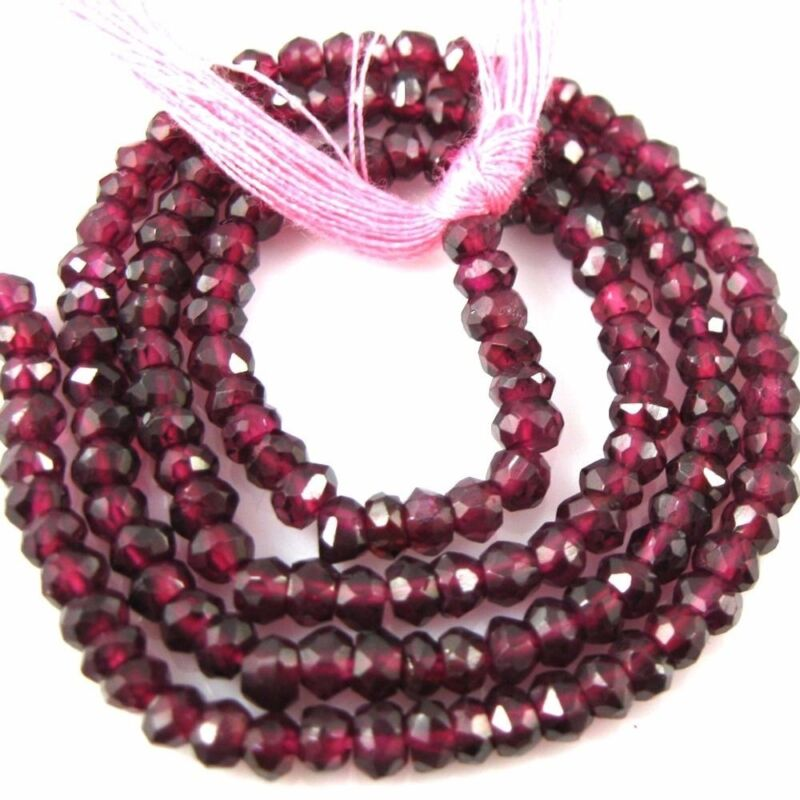 Gemstone Beads-Garnet Faceted Rondelle - January Birthstone- 3-3.5mm-13.5 Inches